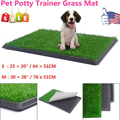 S/M Pet Potty Toilet Trainer Grass Mat Dog Puppy Training Pee Patch Pad Tray US