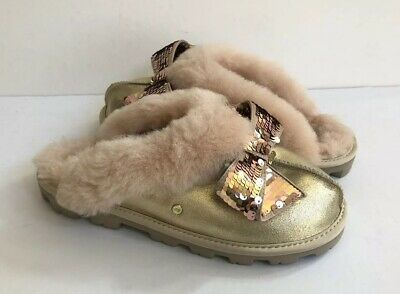 7f1a5025142 UGG COQUETTE SEQUIN Bow Gold Shearling Mocassin Slippers Us 11 / Eu ...