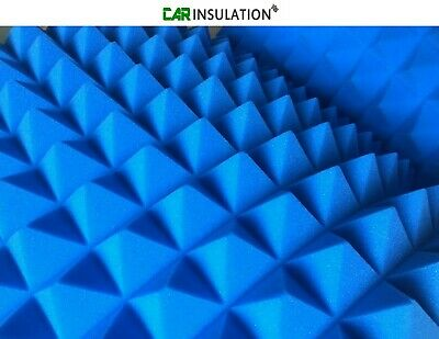 4 Blue Pyramid Foam 50mm Sound Proofing Insulation Recording Studio Booth Room