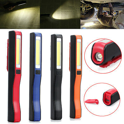 3W COB LED Work Light Hand Torch Rechargeable Magnetic Pocket Inspection USB UK