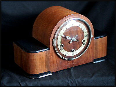 Art Deco Enfield Chiming Mantel Clock. Walnut Cased.