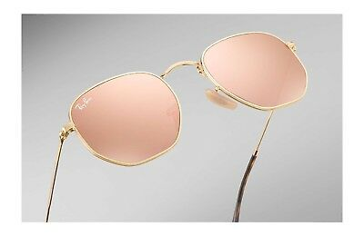 33d23adc4701a Ray-Ban Hexagonal Flat Gold Copper Flash Sunglasses Rb3548N 001 z2 New 54  Italy