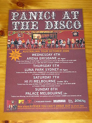 PANIC AT THE DISCO - 2006 'A FEVER...' Australian Tour - Laminated Promo Poster