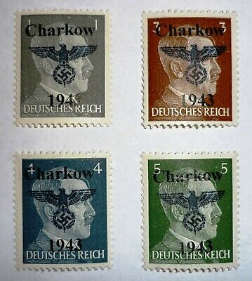 Lokalausgabe. CHARKOW. 1943. 1 - 5 Pfg. 4 stamps. MNH. See scans.