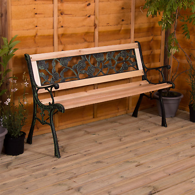Garden Bench 3 Seater Wooden Cast Iron Outdoor Patio Furniture Seat Rose Style