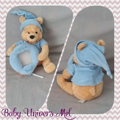 "Peluche Doudou Disney Winnie cadre photo bleu ""Its a boy"" sonore TBE 28cm"