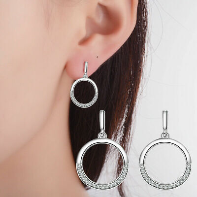 Women's Fashion 925 Sterling Silver Natural Crystal Round Ear Stud Drop Earrings