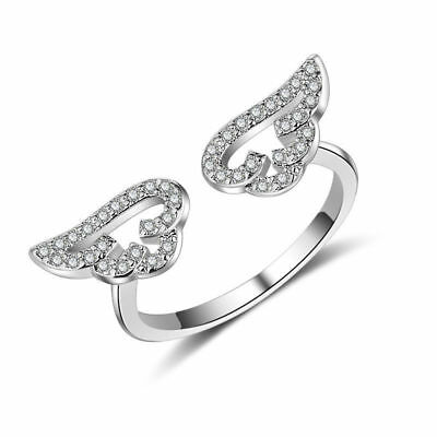 925 Sterling Silver CZ Cubic Zirconia Angel Wing Ring Women Jewellery Size O