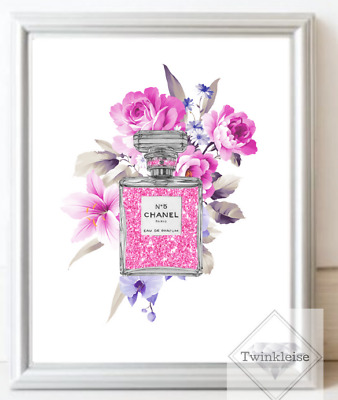 Chanel Fashion Faux Glitter Effect Perfume Art Picture - A4 Print Only - Various