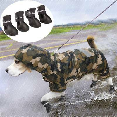 4Pcs Waterproof Pet Dog Rain Shoes Outdoor Anti-slip Protective Rubber Boots