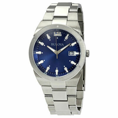 BULOVA 96B220 Mens Dress Blue Dial Silver-Tone Stainless Steel Quartz Watch 43mm