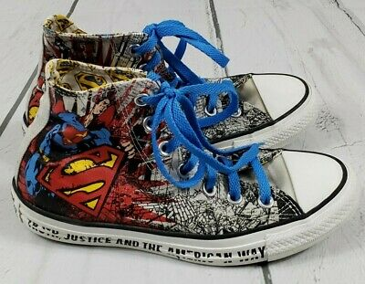 f67b9988f943 Converse Superman Chuck Taylor All Star High Top Sneakers Tennis Shoes M 5  W 7