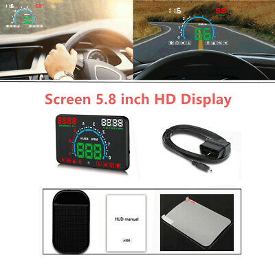 5.8'' Car HUD Head Up Display Speedometer Multi-Color Windshield Projector Speed