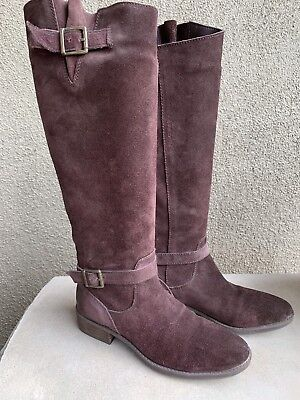 b4313b6960d9 Sam Edelman Womens Painted Knee High Riding Boots 7 Brown Suede Leather