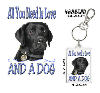 BLACK LABRADOR GIFT KEYRING All You Need Is Love And A Dog. Can Be Personalised.