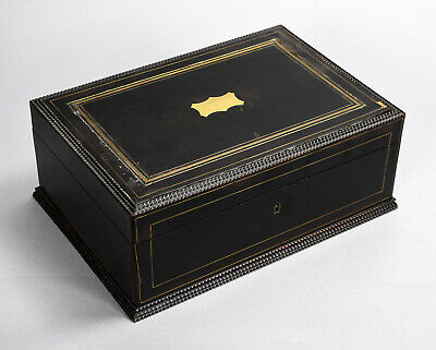 19th c. Document Box Black Painted Wood w/ Cartouche on Hinged Lid no key as is