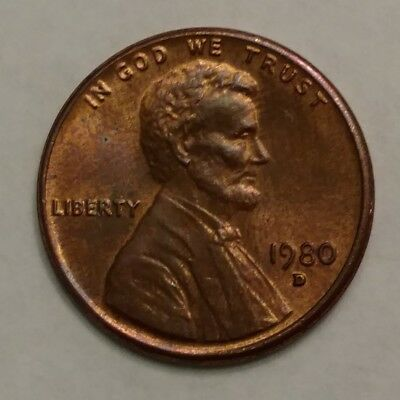 1980 Lincoln Memorial Penny, Denver Mint, Circulated