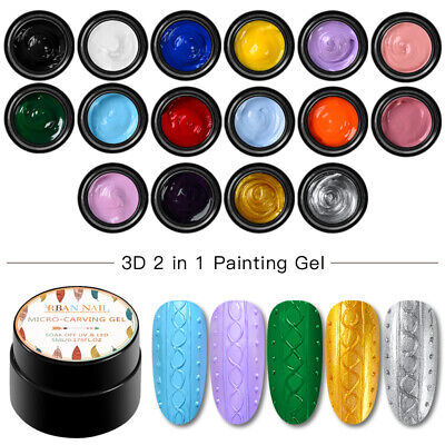 RBAN NAIL 5ml 3D 2 in 1 UV Glitter Micro-carving Painting Gel Varnish 16Colors
