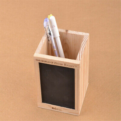 Bamboo Wood Desk Pen Pencil Holder Cup Stand Square Small Office Stationery LH