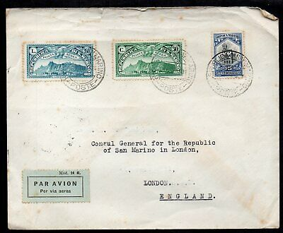 San Marino - 1935 Airmail Cover to Consul General in London - High Cat Stamps
