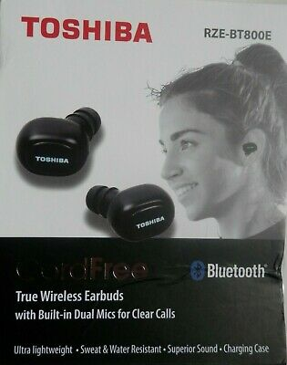 898114c7eb3 Toshiba Truly Wireless Black Earbuds Rze-Bt800E With Charging Case Brand New