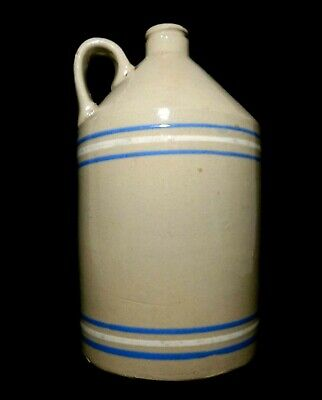 Late 19Th C Antique Stoneware 1 Gal Handled Whiskey Jug, W/Blue/White Thin Bands