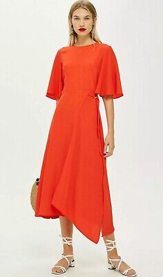 /% TOPSHOP Red Satin Cut-Out Midi Dress UK 6-16 RRP £49