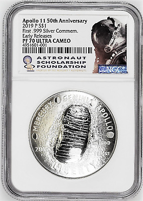 2019-P PROOF Silver $1 Apollo 11 50th Anniv NGC PF 70 Ultra Cameo EARLY RELEASES