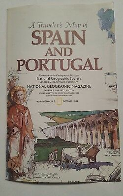 National Geographic Mag -supplement map spain and portugal  - free post