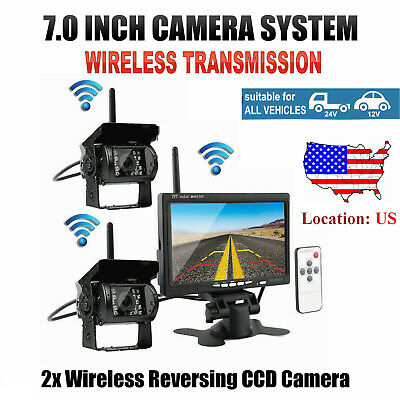 """For RV Truck Bus 2 X Wireless Rear View Backup Camera Night Vision + 7"""" Monitor"""