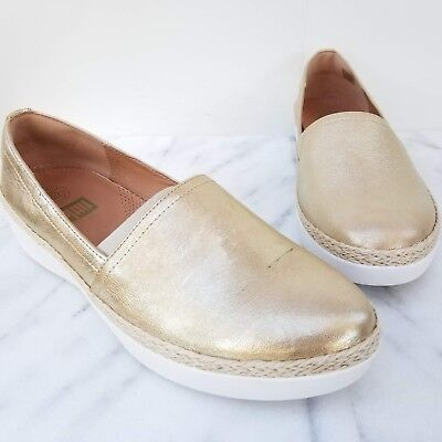 422934ac339 FITFLOP Casa Loafers Gold Metallic Leather Espadrille Slip On Women s Shoes  10