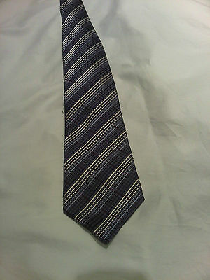 Grey polyester GEORGE tie with light blue, and burgundy stripes. (T2)