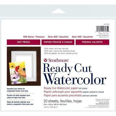 Strathmore Paper - Watercolour - Series 500 Hot Press - Ready Cut 8x10 - 10 S...