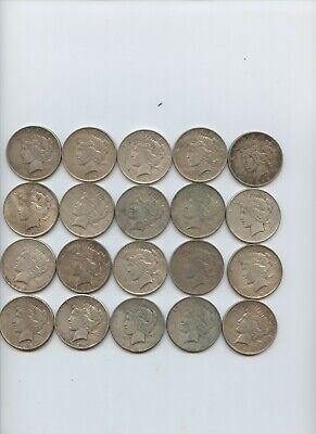 Peace Dollar Silver US Coin 20 Piece (1922 - 1926) VG-AU $1 Mixed Mint Marks