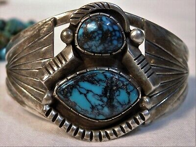 2a10c685ef23 NAVAJO Deceased Fred Guerro grdAAA INDIAN MOUNTAIN Turquoise STERLING  Bracelet