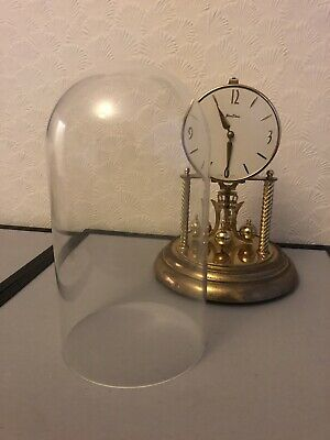 Vintage BENTIMA Glass Dome Mantle Clock - Spares/Repairs - 30cm High, Missing Pa