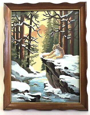 Vintage Lion Lioness Paint By Number Mid Century Framed PBN Painting