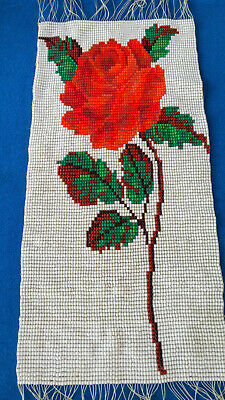 Vintage Handmade Seed Bead Beaded Victorian Red Rose Panel Tapestry Shabby Chic