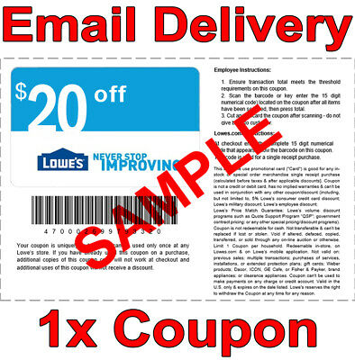 2𝚇 Lowes $20 OFF $100 INSTANT Discount Fastest DELIVERY-1COUPON INSTORE/ONLINE