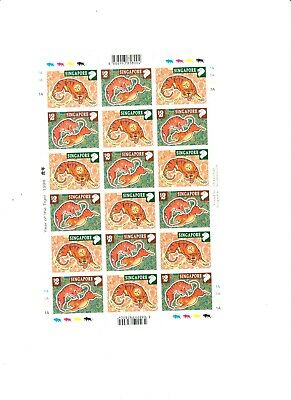 """Singapore, 1998, """"year Of Tiger"""" Full Sheet Of 18 Stamps Mint Nh Fresh Condition"""