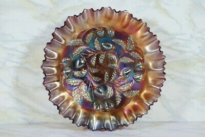 Antique Northwood Strawberry Amethyst Carnival Glass Bowl