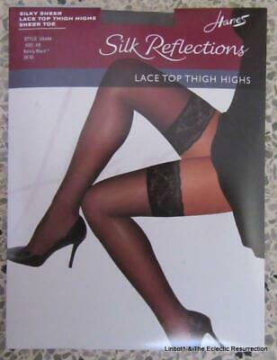 0e2f82626f0 Hanes Silk Reflections Lace Top Thigh Highs Sheer Toe Stockings AB Barely  Black