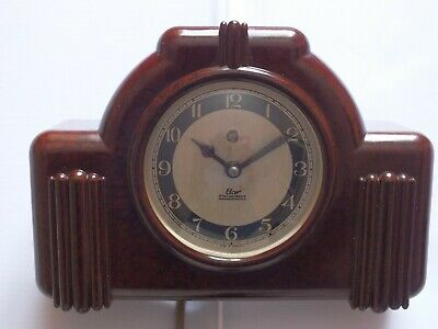 Antique / Vintage Elco Bakelite Synchronous Electric Mantel Clock. Working.
