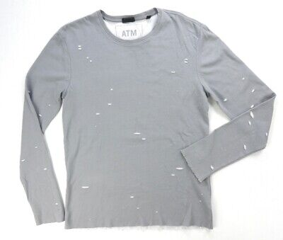 New $195 Atm Gray Vintage Distressed Torn Layered Print L/S T-Shirt Size S