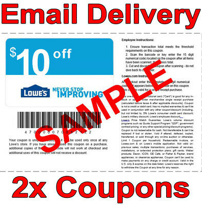 2𝚇 Lowes $10 OFF $50 INSTANT Discount Fastest DELIVERY-1COUPON INSTORE/ONLINE