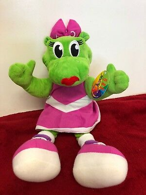 "14"" Sid and Lizzie Green Pink Girl Soft Puppet Toy Lizard Parkdean Next Holiday"