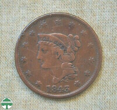 1843 Braided Hair Large Cent - Fine Details