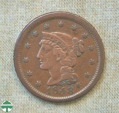 1848 Braided Hair Large Cent - Fine Details