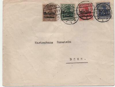 GERMANY/BELGIUM: 1914 Overprint Examples on Cover to Bern - Brussels (22424)