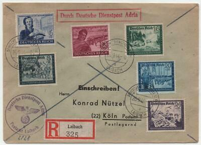 GERMANY: 1944 Examples on Registered Cover to Cologne - Laibach Cancels (22358)